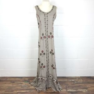Maxi dress Boho embroidered hippie dyed M/L